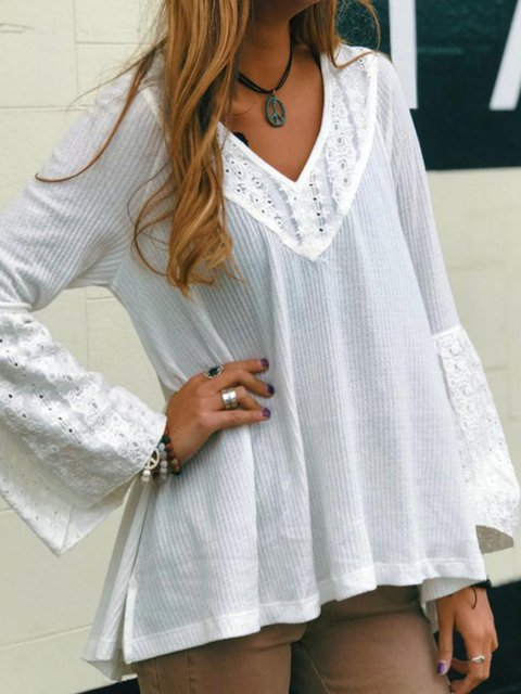 Paneled Solid Holiday Cotton V Neck Long Sleeve Blouses