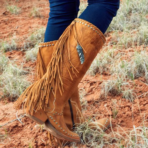 Vintage Block Heel Tassel Knee-High Boots Zipper Women Cowboy Boots