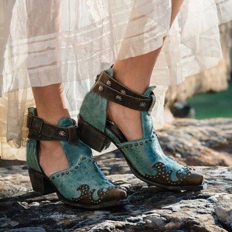 Vintage Women Block Heel Rivet PU Buckle Strap Sandals Plus Sizes