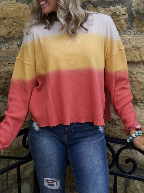 Multicolor Color-Block Casual Knitted Sweatshirts