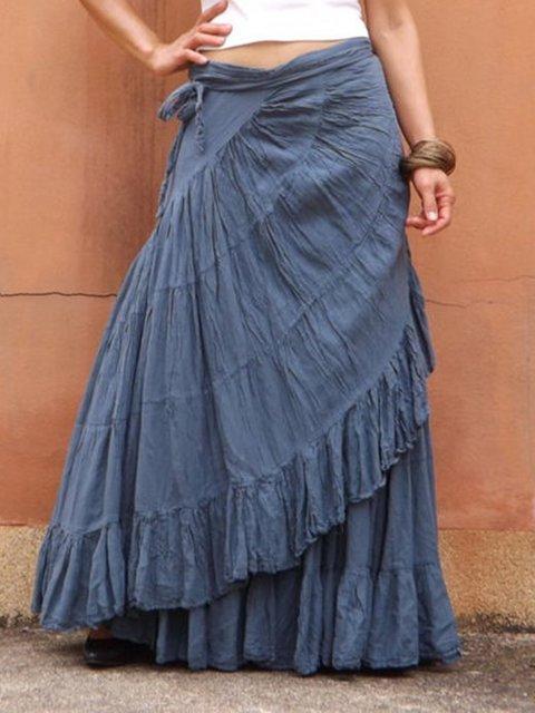 Navyblue Linen Plain Vintage Paneled Skirts