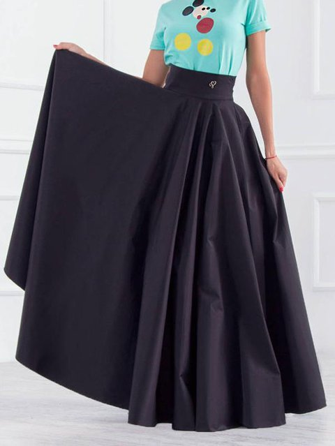 Black Plain Vintage Skirts