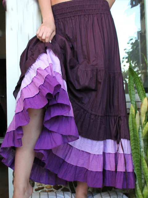 Purple Vintage Cotton-Blend Paneled Skirts