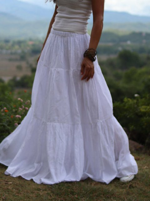 White Linen Vintage Paneled Skirts
