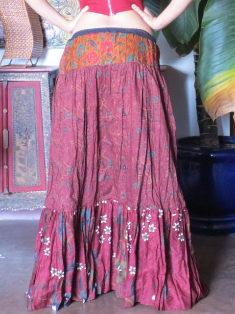 Red Paneled Outdoor Linen Skirts