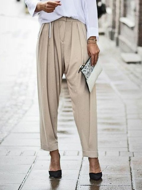 Casual Pants Plain  Gathered Cotton-Blend Pants
