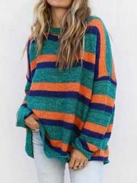 Printed Stripes Knitted Cotton Holiday Long Sleeve Crew Neck Sweater