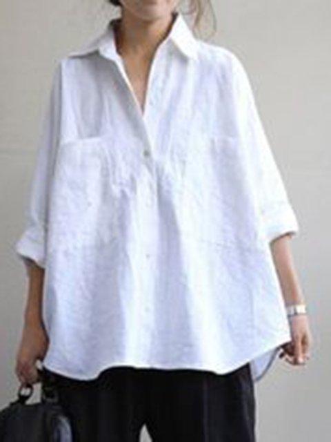 Plus Size Long Sleeve Shirt Collar Casual Shirts