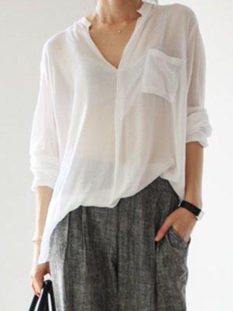 Plain Daytime Shirt Collar Long Sleeve Casual Shirts
