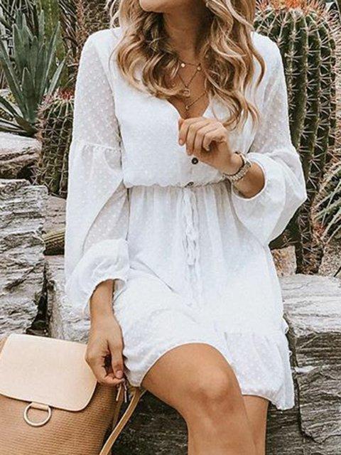 Plain Long Sleeve Mini Daytime Boho Dresses