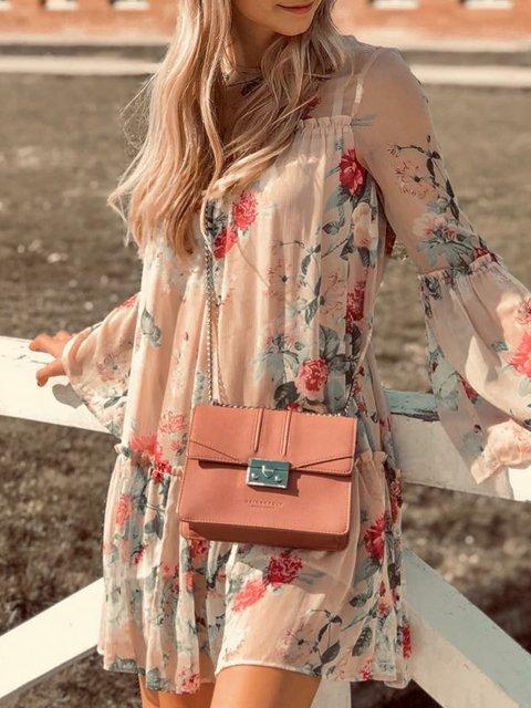 Frill Sleeve Mini Floral Daytime  Dresses