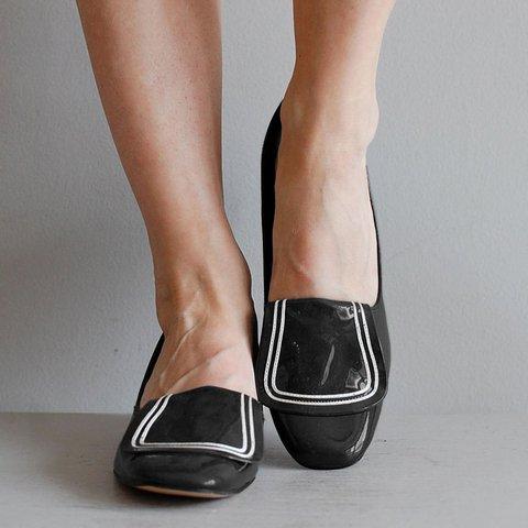 Low Heel Pu Loafers Margo Heel Slip-On Vintage Shoes