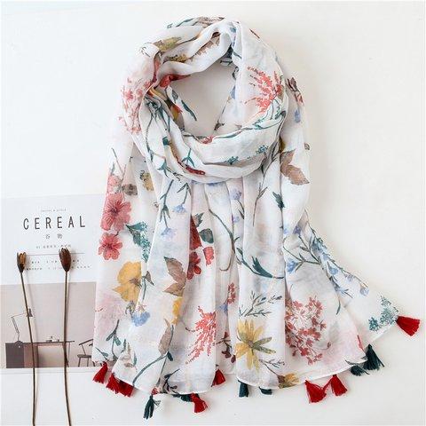 White Floral Fringed Scarves & Shawls