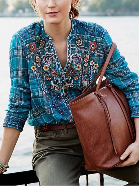 Blue Floral Casual Shirts & Tops