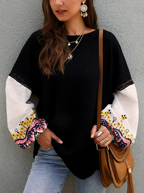 Casual Crew Neck Tribal Knitted Sweater