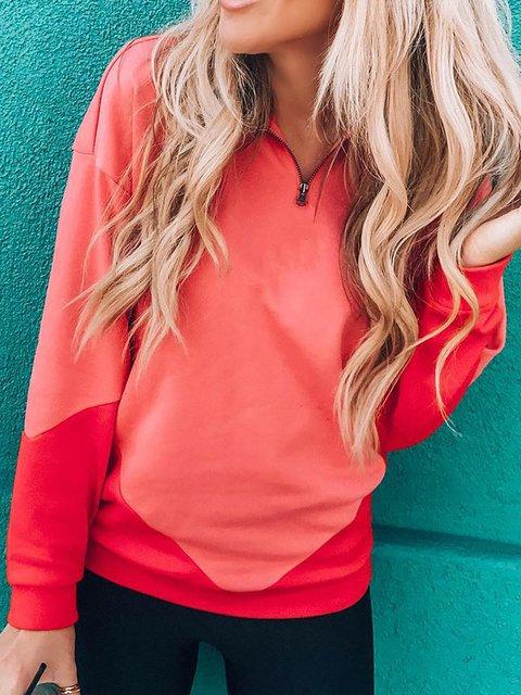 Plus Size Zipper Long Sleeve Sweatshirts