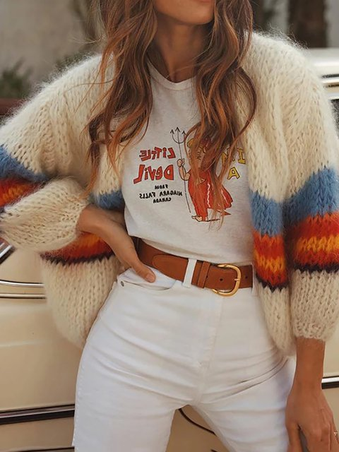 Color Block Striped Knitted Cardigans