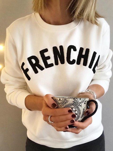 Plus Size Round Neck Long Sleeve Letter Sweatshirts