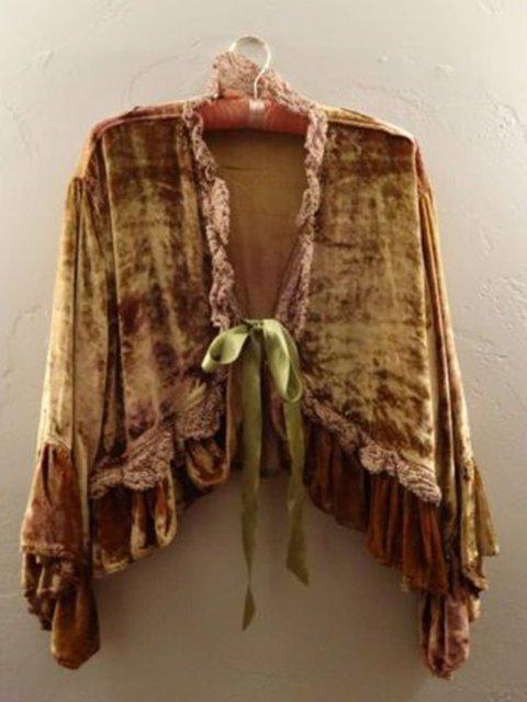 Women Gold Brown Velvet Long Sleeve Shirts & Tops