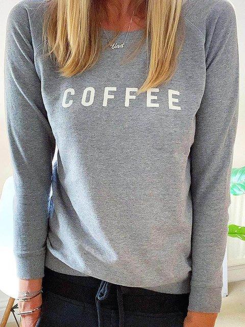 Plus Size Cotton Round Neck Letter Long Sleeve Sweatshirts