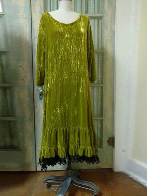 Women Green Casual Velvet Bateau/boat Neck Dresses