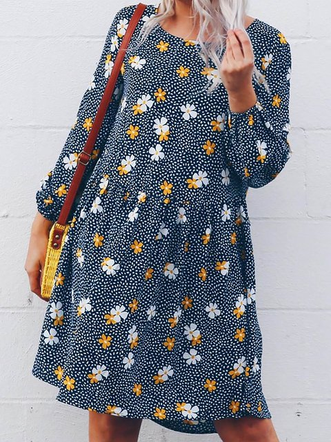 Round Neck Women Caftans Shift Daily Polka Dots Dresses