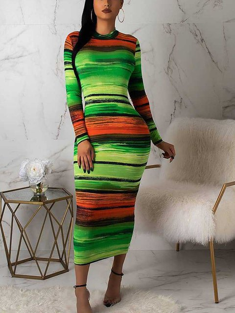 Crew Neck Multicolors Women Dresses Sheath Holiday Paneled Striped Dresses