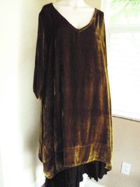 Women Gold Brown Casual 3/4 Sleeve Dresses