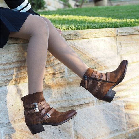 Woman Vintage Buckle Zipper Chunky Heel Ankle Boots