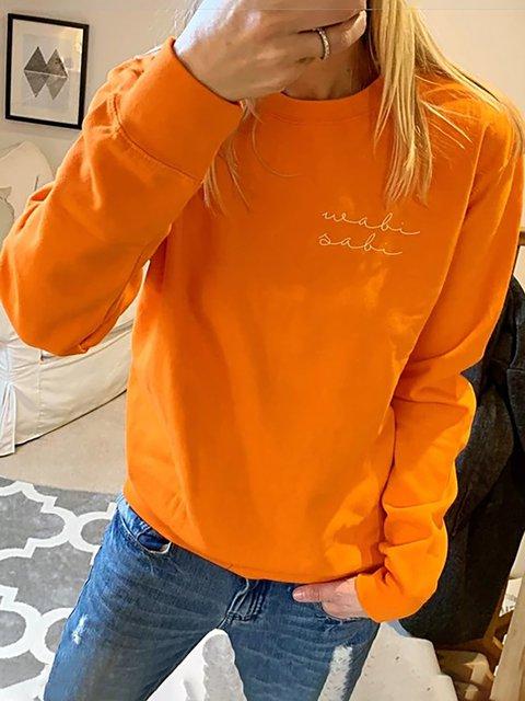 Plus Size Cotton Long Sleeve Round Neck Sweet Sweatshirts