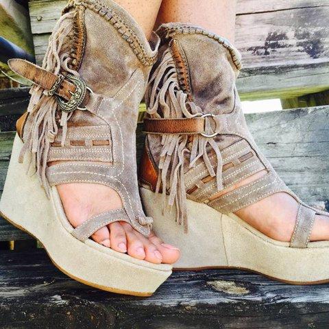 Plus Size Tassel Boho Suede Wedge Heel Sandals