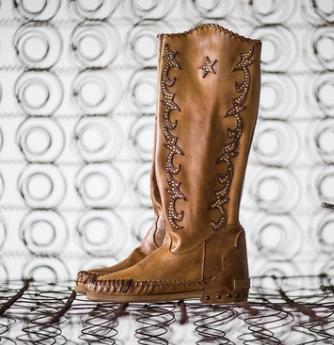 Plus Size Vintage Leather Stars Flat Heel Knee Boots