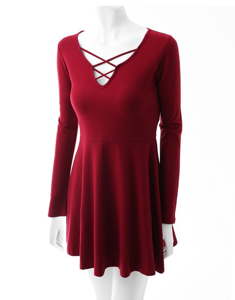 V Neck Women Casual Dresses Simple Lace-Up Dresses