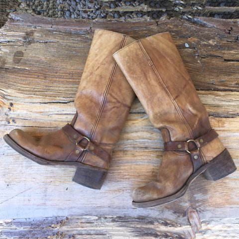 Vintage Slip-On Mid-Calf Boots O Ring Square Toe Biker Motorcycle Boots