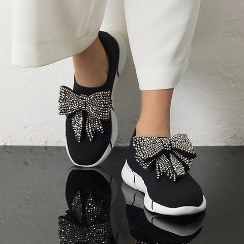 Black Bowknot Flyknit Fabric All Season Sneakers