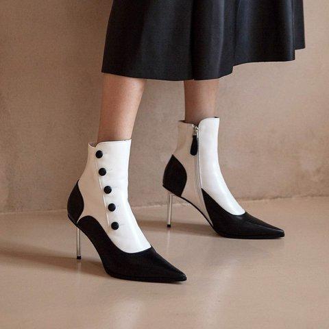 Stylish Vintage Genuine Leather Pointed Toe Stiletto Heel Boots