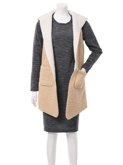 Casual Wool Plain Hoodie Pockets Outerwear Sleeveless Cardigans