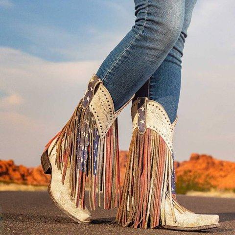 Square toe Vintage Flag Star Tassel Western Boots