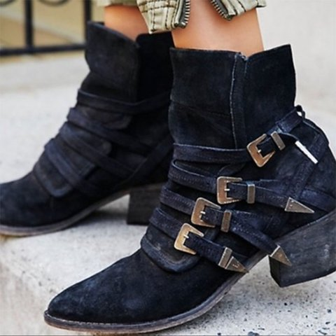 Women Multiple Adjustable Buckle Western-inspired Suede Boots