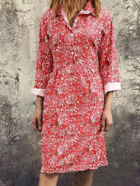 Shirt Collar Women Dresses Shift Daily Cotton-Blend Dresses