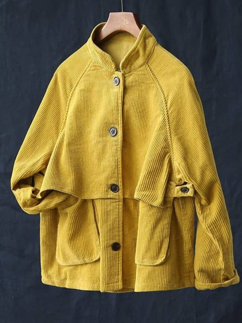 Casual Pockets Corduroy Jacket Outerwear