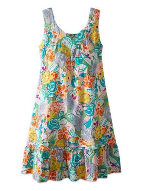 Multicolor Women Ruffled Dresses Daily Floral-Print Floral Dresses