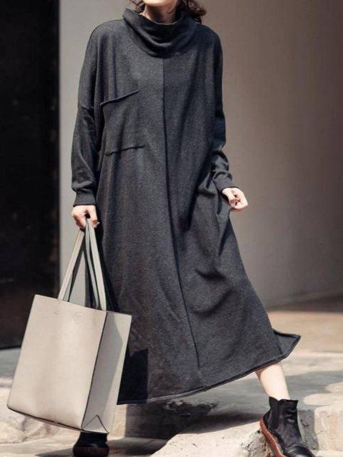 Gray Plain Turtleneck Long Sleeve Dresses