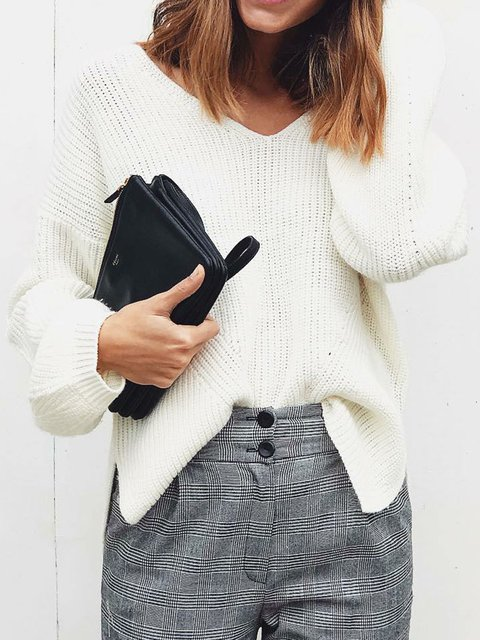 White Long Sleeve Plain Knitted Elegant Sweaters