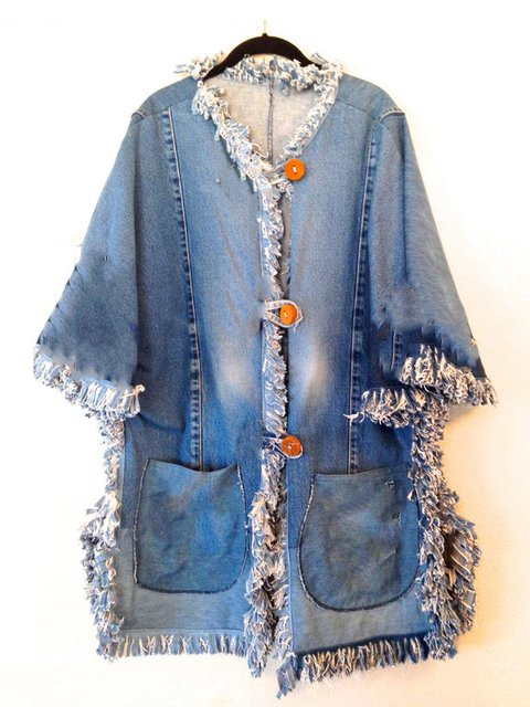 Blue Long Sleeve Denim Outerwear