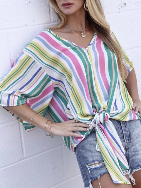 Holiday Printed Stripes V Neck Half Sleeve Tops