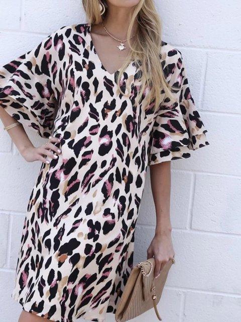 V Neck Women Dresses Going Out Printed Leopard Print Dresses