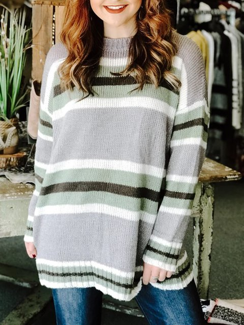 Holiday Printed Cotton Casual Stripes Sweater