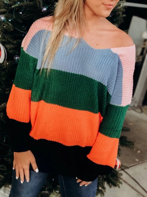 V Neck Long Sleeve Stripes Printed Sweater