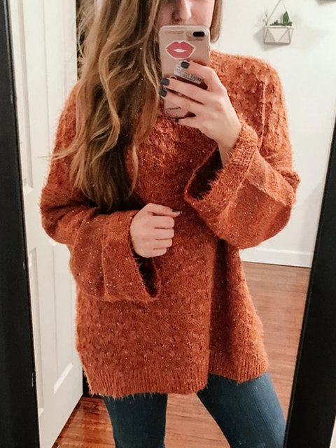Solid Knitted Cotton Long Sleeve Sweater